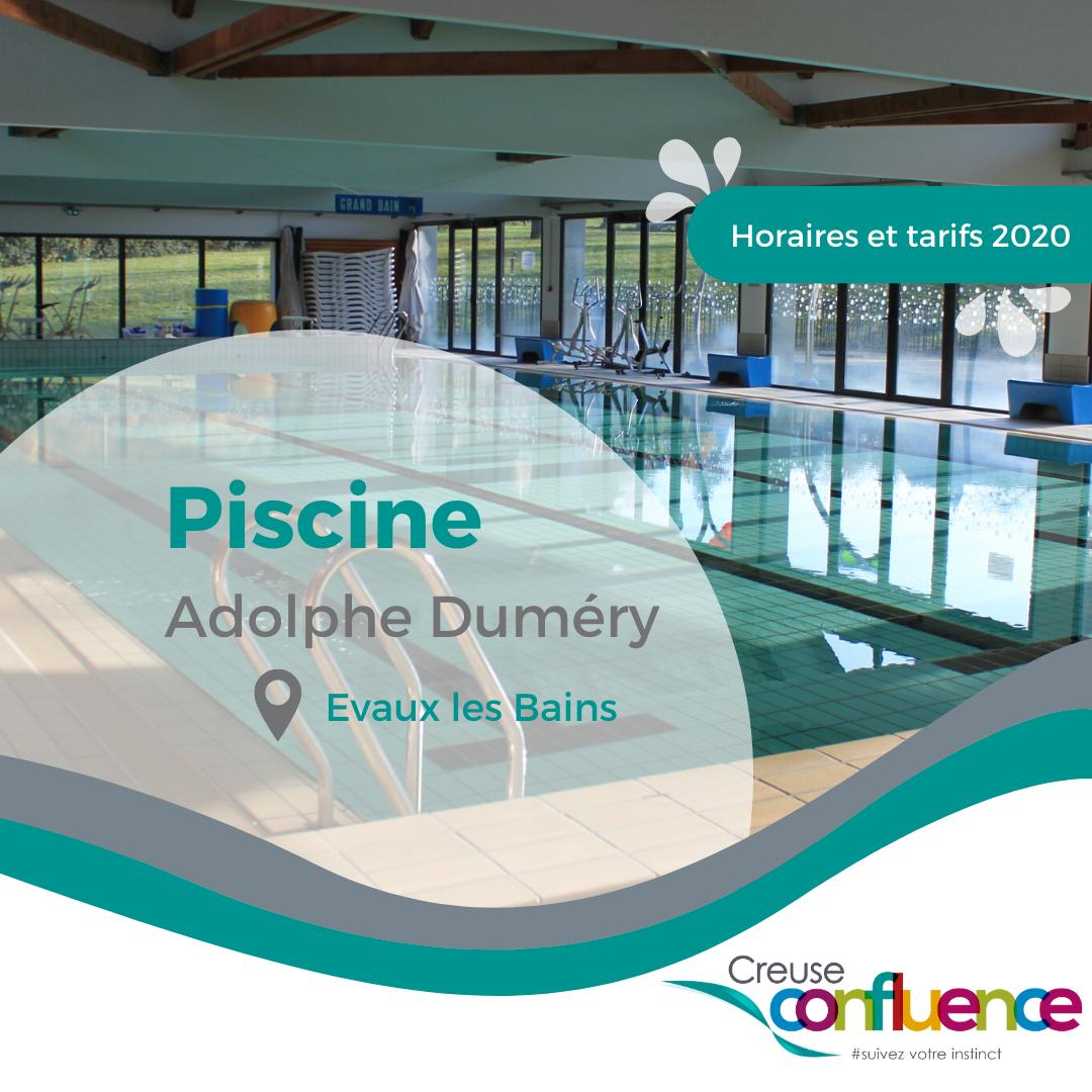 Téléchargez les horaires et les tarifs de la piscine Adolphe Duméry d'Evaux les Bains