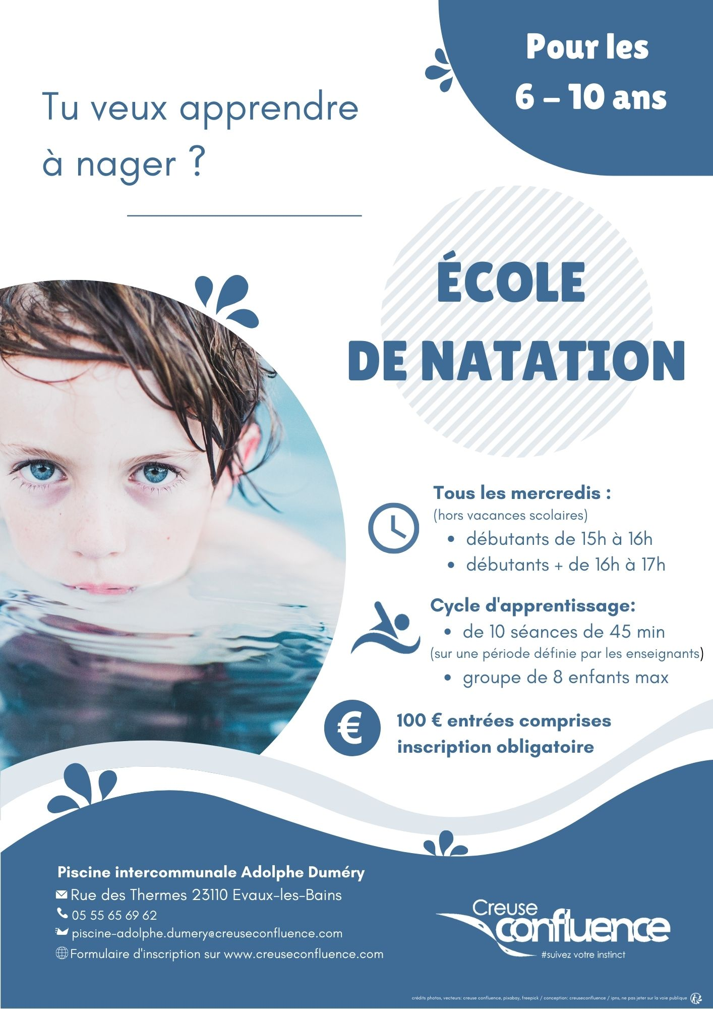ecole natation creuse confluence