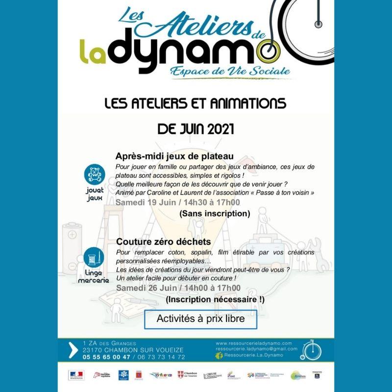 Ressourcerie la Dynamo - ateliers juin