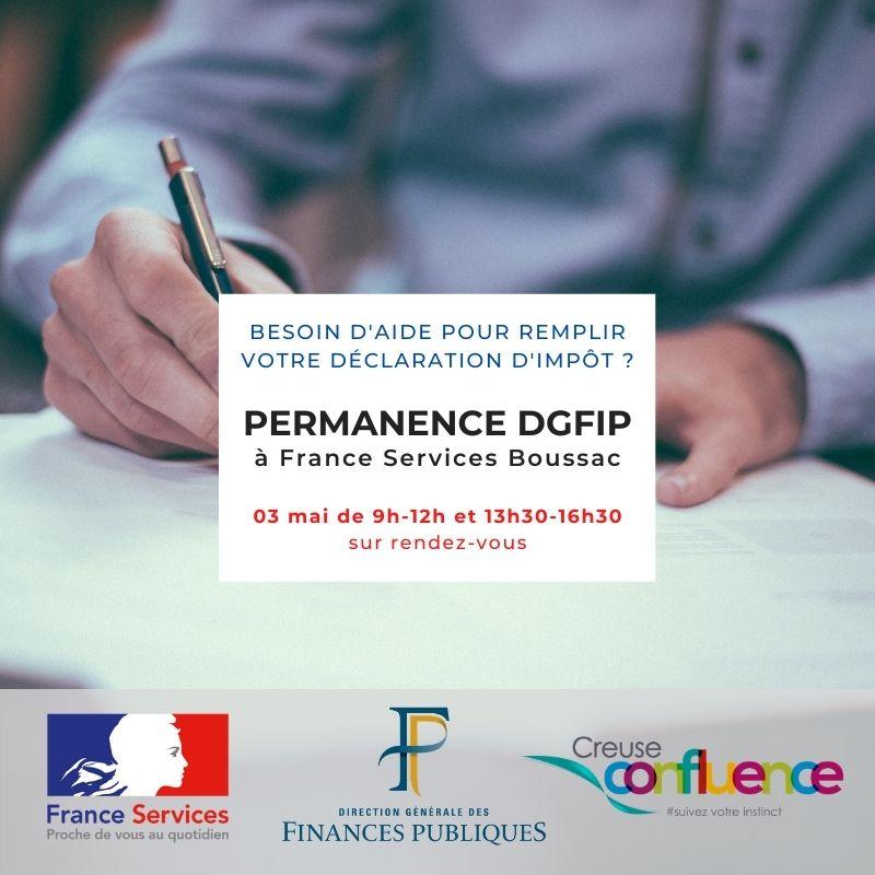 Permanence DGFIP à la maison France Services de Boussac