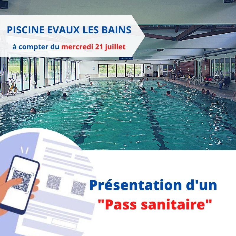 Piscine Evaux les Bains : PASS sanitaire obligatoire