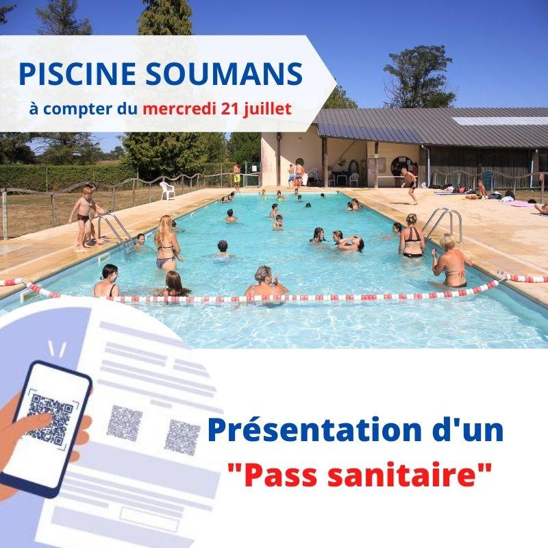 Piscine Soumans : PASS sanitaire obligatoire