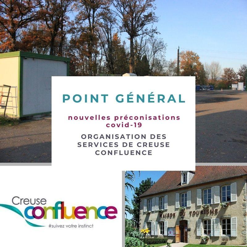 Nouvelles Préconisations COVID-19 : organisation des services de Creuse Confluence